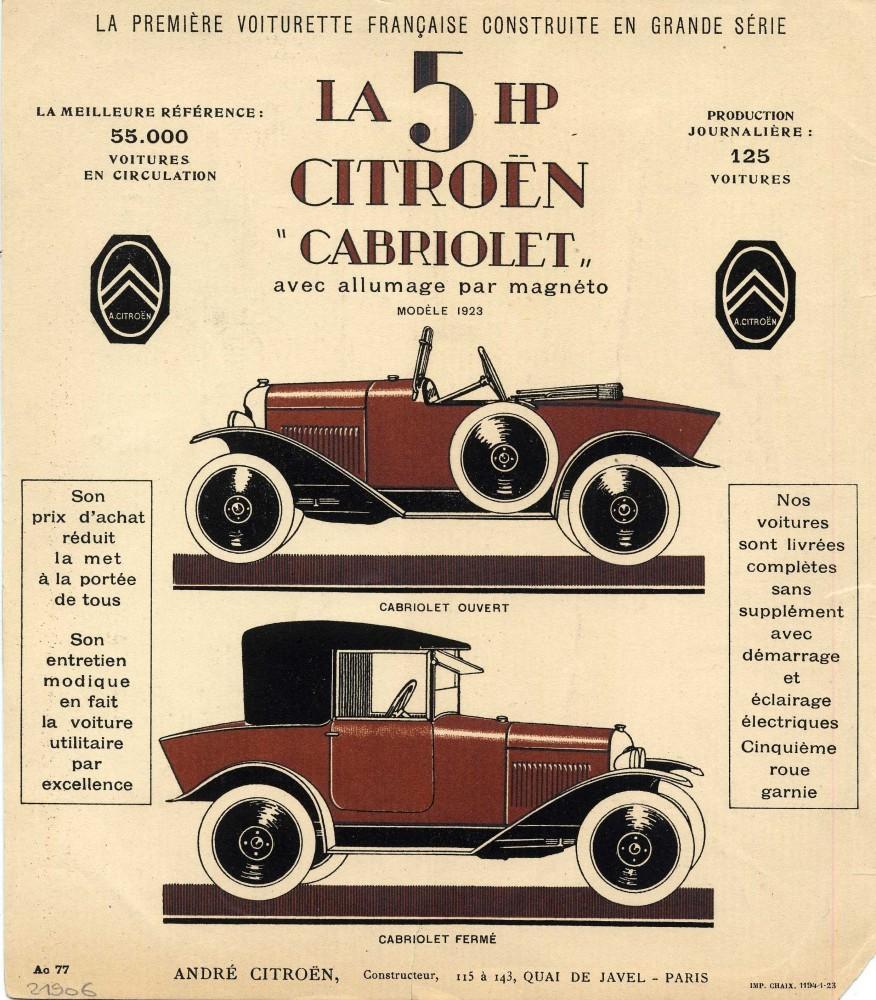 Брошюра Citroën 5 HP (1923г.)