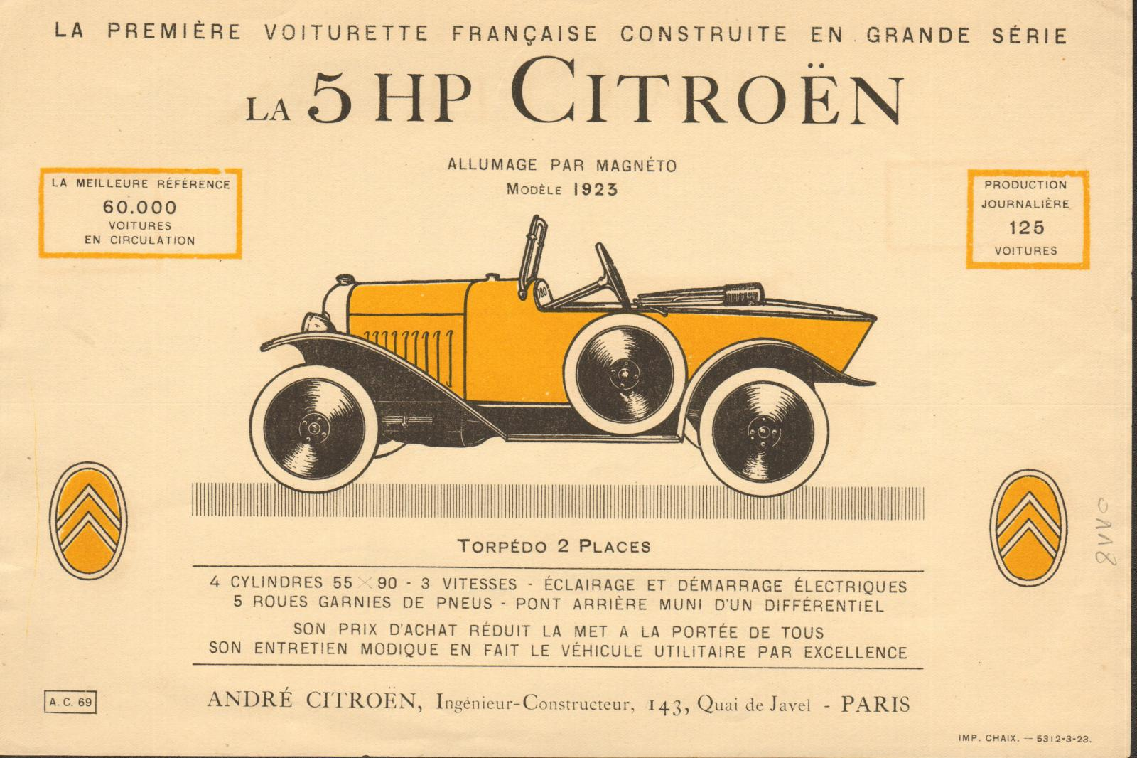 Брошюра Citroen 5 HP (1923г.)